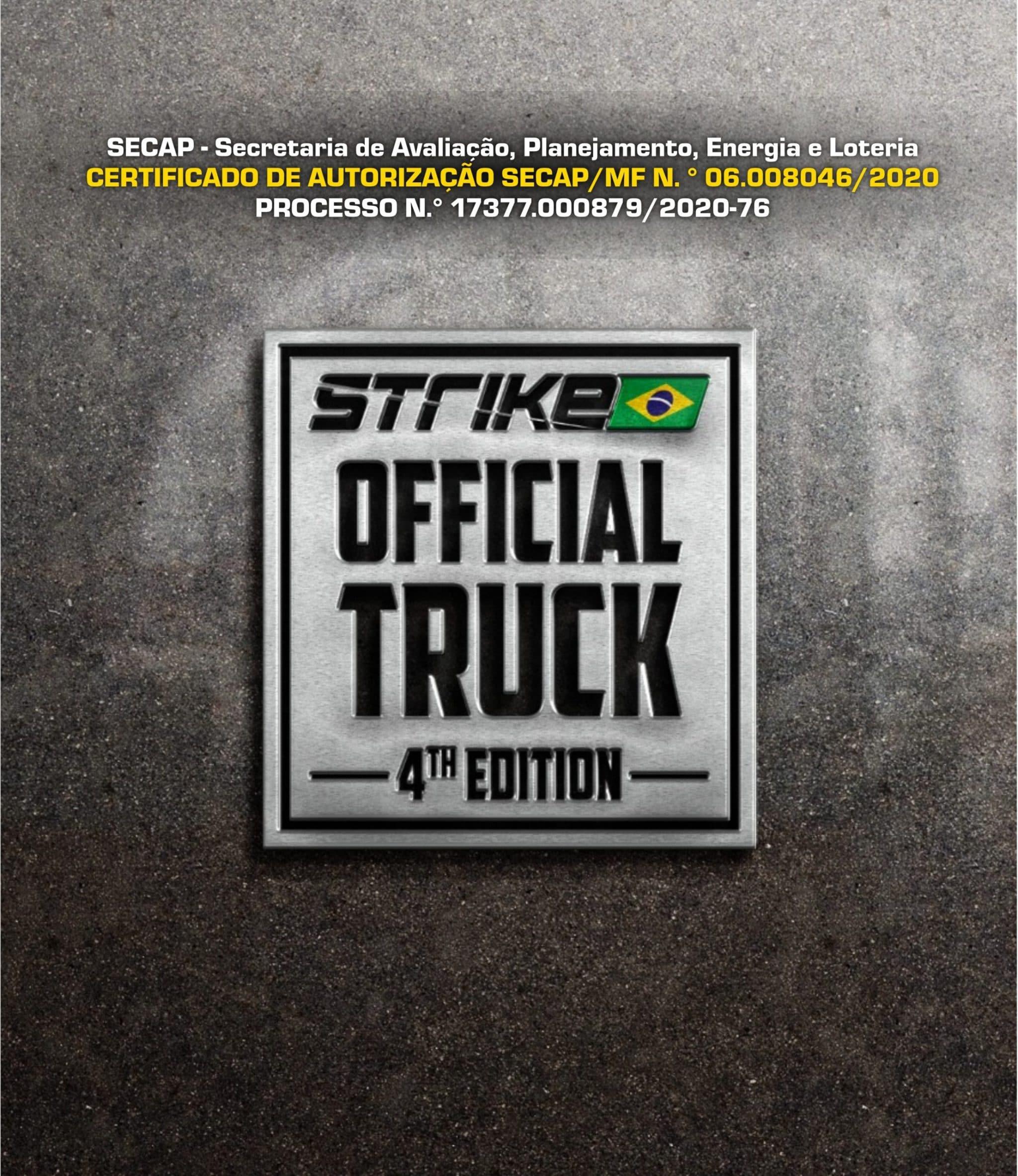 certificado autorização SECAP - sorteio Official Truck 2020