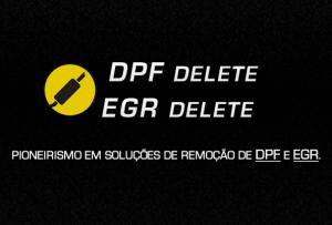 DPF e EGR Delete - arte em fundo preto e escrito amarelo